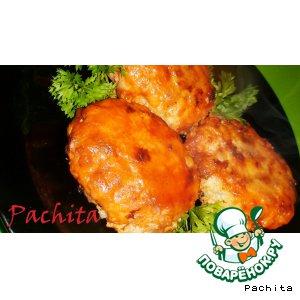 Рецепт: Рыбные котлеты с грибами и рисом Алая заря