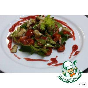 Рецепт: Салат из кролика и раковых шеек под малиновом винегретой