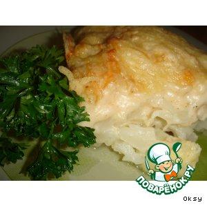 Рецепт: Цветная капуста, запеченная с кремовым соусом с хреном