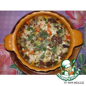 Рецепт: Рисовая запеканка с фаршем и овощами