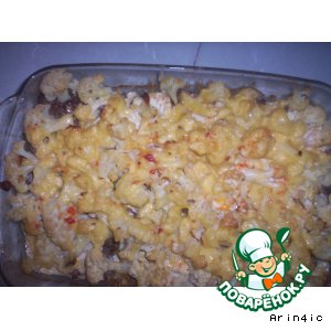 Рецепт: Мясная запеканка из цветной капусты