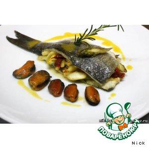 Рецепт: Морской волк, фаршированный овощами с мидиями и шафрановым маслом