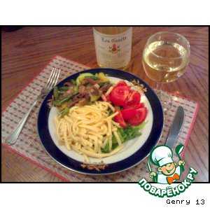 Рецепт: Макароны с грудинкой, овощами и белым вином