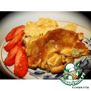 Рецепт: Курица под яблочным соусом с сухариками