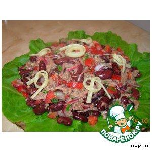 Рецепт: Салат фасолевый с тунцом