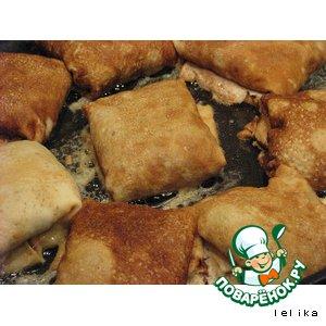 Рецепт: Блинчики, фаршированные куриными желудками