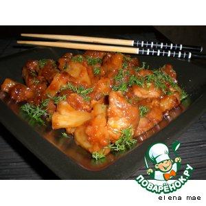 Рецепт: Свинина в кисло-сладком соусе с ананасами