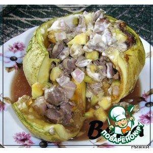 Рецепт: Тыква, запеченная с куриными желудочками