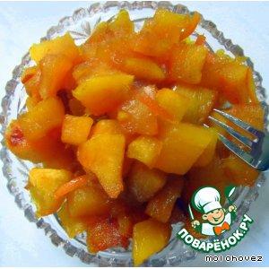 Рецепт: Тыква в меду с корицей и апельсиновой цедрой