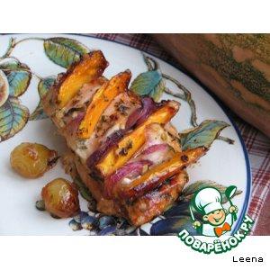 Рецепт Куриная грудинка с карамелизированной тыквой в пряном маринаде