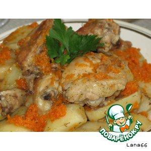 Рецепт: Куриные бедра с овощами в рукаве