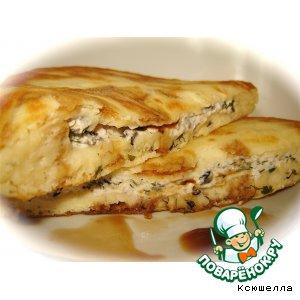 Рецепт: Лепешки с сырно-оливковой начинкой