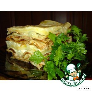 Рецепт: Моя лазанья с овощами, грибами и мясом
