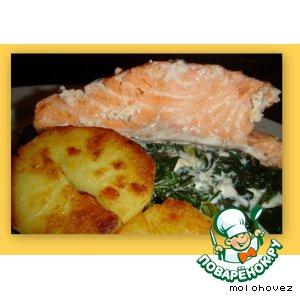 Рецепт: Лосось со шпинатом Рыбка под водкой