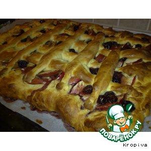 Рецепт: Яблочно-вишнeвый пирог