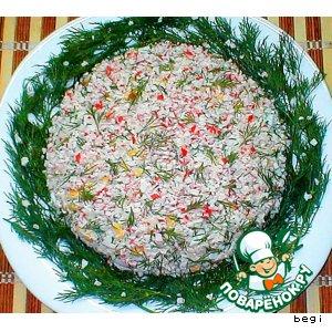 Рецепт: Крабовый салат с рисом и укропом