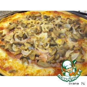 Рецепт: Пицца Ветчина и грибы