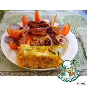 Салат с вялеными помидорами и горбуша под шубой