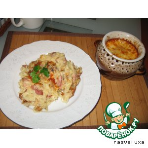 Рецепт: Картофельная бабка с грибами, сыром и грудинкой