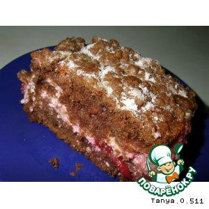 Рецепт: Пирог с творогом и вишнями