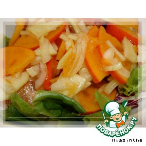 Рецепт: Салат из хурмы с луком