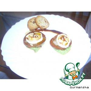 Рецепт: Башенки из помидоров в маринаде с козьим сыром