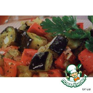 Рецепт: Баклажаны с перцем и чесноком