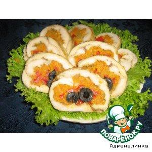 Рецепт: Рулет из курицы с морковью Глазики