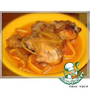 Рецепт: Курица с фруктами, запеченная в рукаве