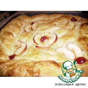 Рецепт: Вишнево - яблочный пирог