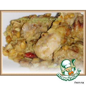 Рецепт: Курица с миндалем и нутом