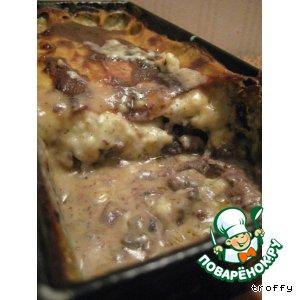 Рецепт: Печень с грибами под соусом