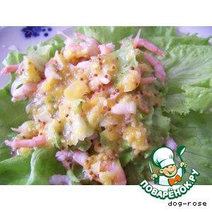 Рецепт: Салат с креветками под цитрусовым соусом