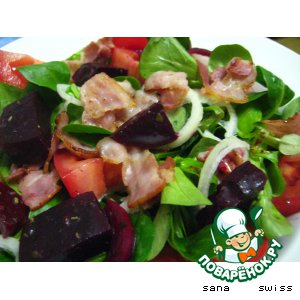 Рецепт: Полевой салат с беконом и свеклой