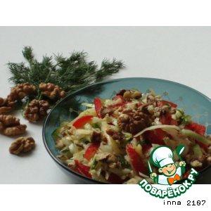 Рецепт: Капустный салат с сыром и грецкими орехами