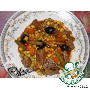 Рецепт: Мясо с овощами в микроволновке