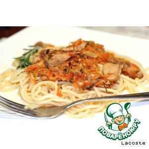 Рецепт: Спагетти с соусом из кролика