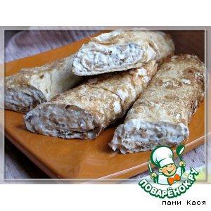 Рецепт Рулеты из лаваша с курицей, грибами и плавленным сыром