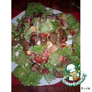 Рецепт: Тeплый салат с печенью кролика
