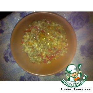 Рецепт: Перловка+мясной фарш+овощи
