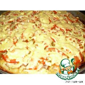 """Рецепт: Вкусная быстро-пицца """"из того, что было"""""""