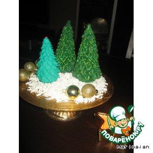 Новогодняя елка из сахарной мастики