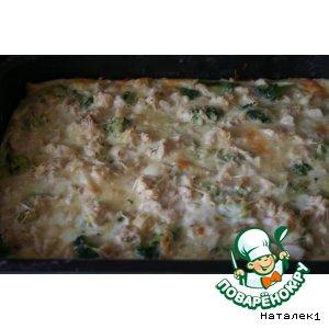 Рецепт: Слоеный пирог с брокколи и курицей