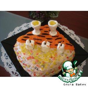 """Рецепт: Закусочный торт """"Новогодний"""""""