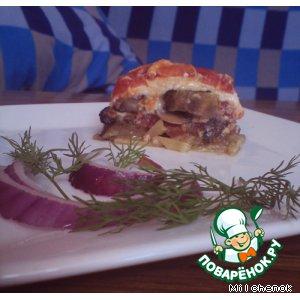 Рецепт: Лазанья с баклажанами и грибами
