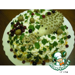 Рецепт: Салат «Ежик на полянке»