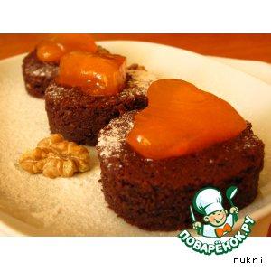 Рецепт: Брауни с хурмой и грецкими орехами