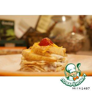 Рецепт: Сладкие блинные пирожные Праздник