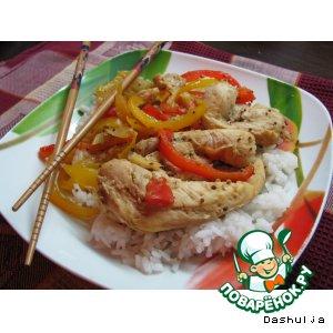 Рецепт: Овощи по-азиатски с курицей