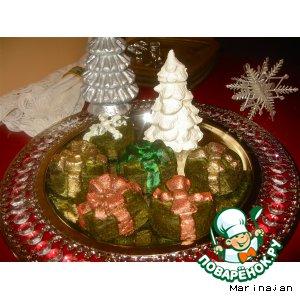 Рецепт: Шпинатный новогодний подарок под елкой из творога